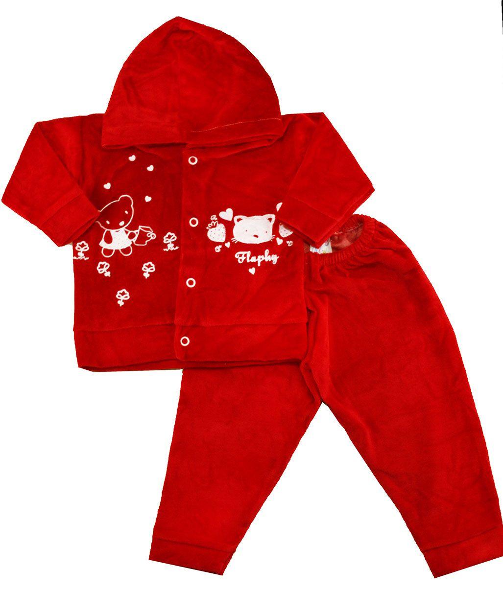 Conjunto Plush de Bebê Flaphy Vermelho Feminino Estampado (P/M/G)