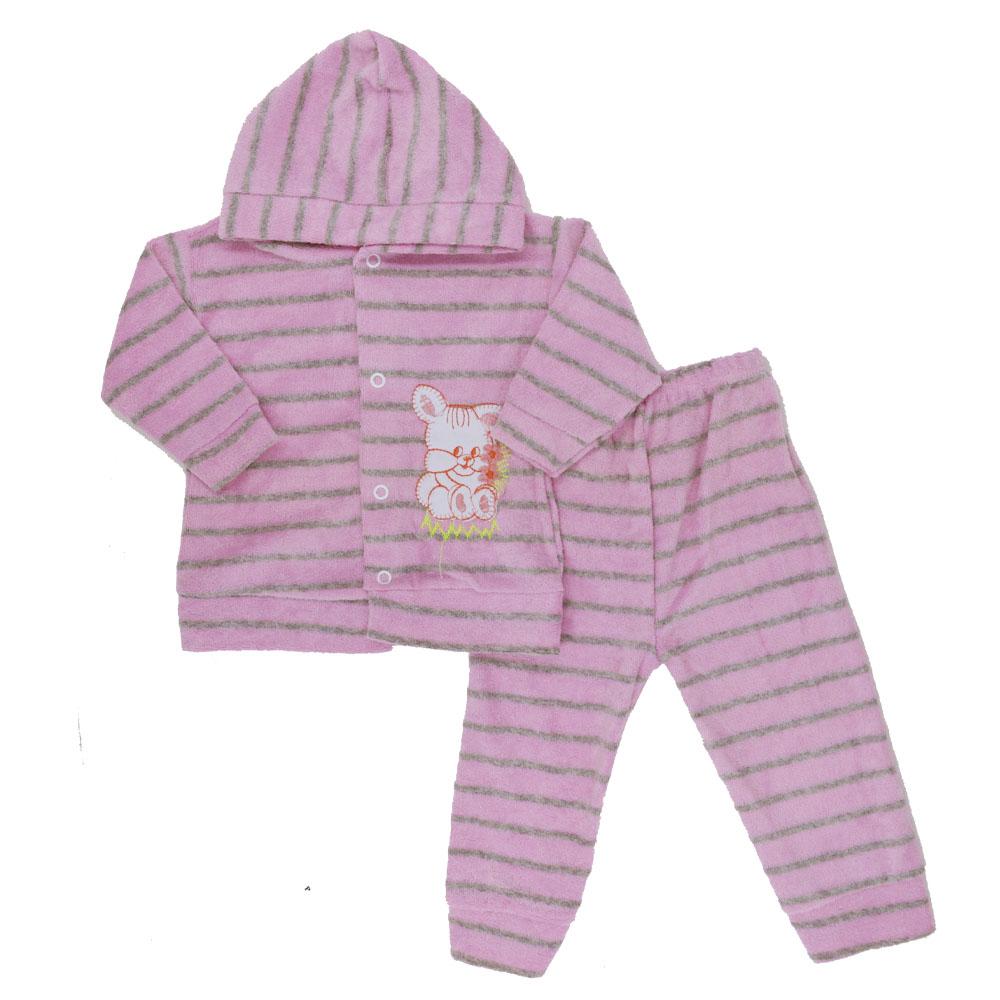 Conjunto de Bebê Plush Atoalhado Rosa Claro (P/M/G)