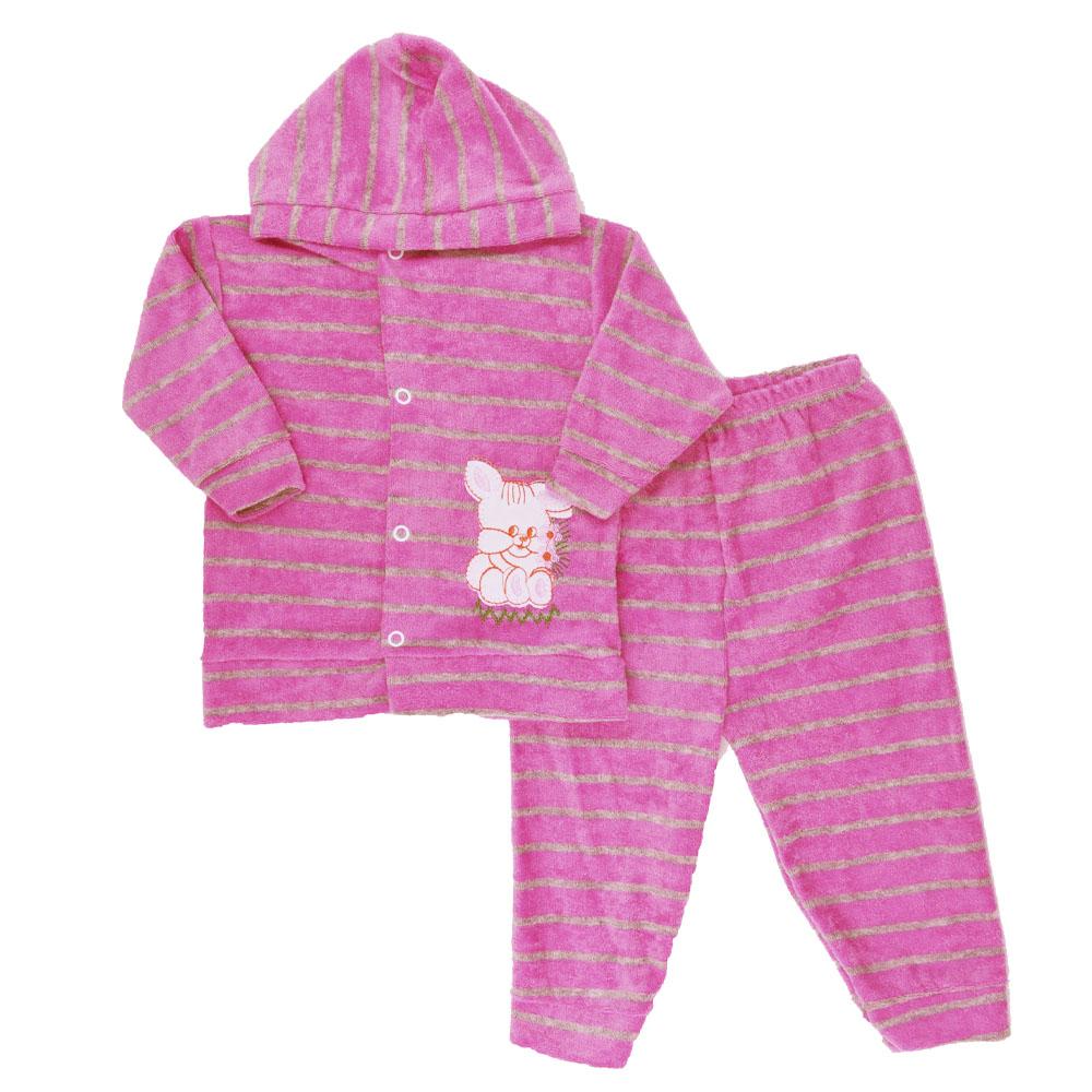 Conjunto de Bebê Plush Atoalhado Rosa Escuro (P/M/G)