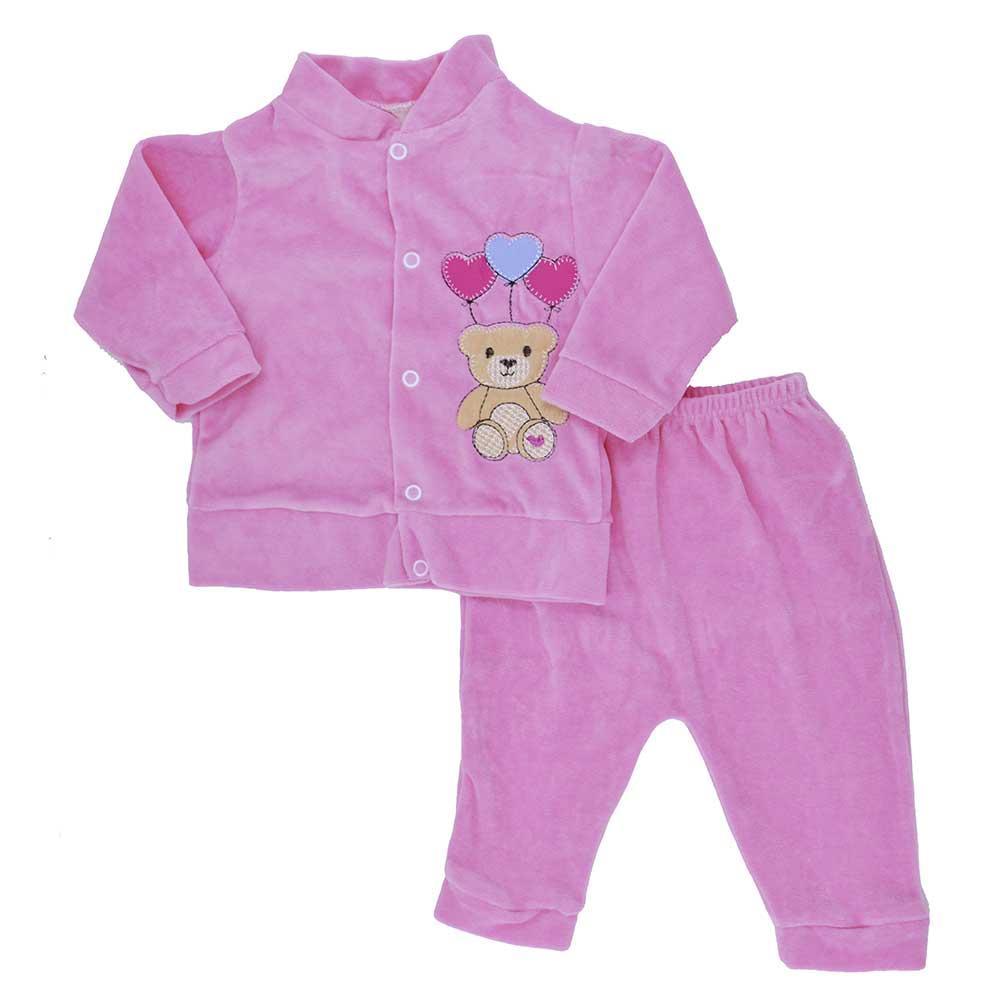 Conjunto de Bebê Plush Rosa (P/M/G)