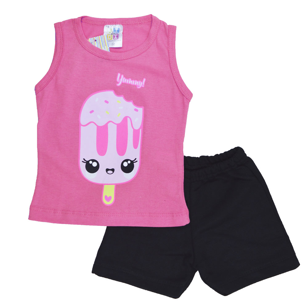 Conjunto de Bebê Verão Picolé Pink (P/M/G)