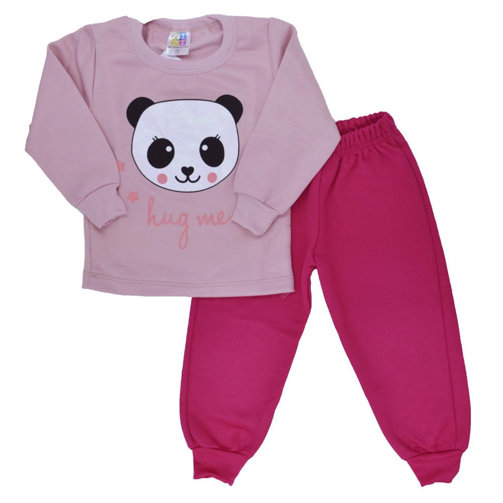 Conjunto de Moletom Infantil Panda Rosa Claro (1/2/3)