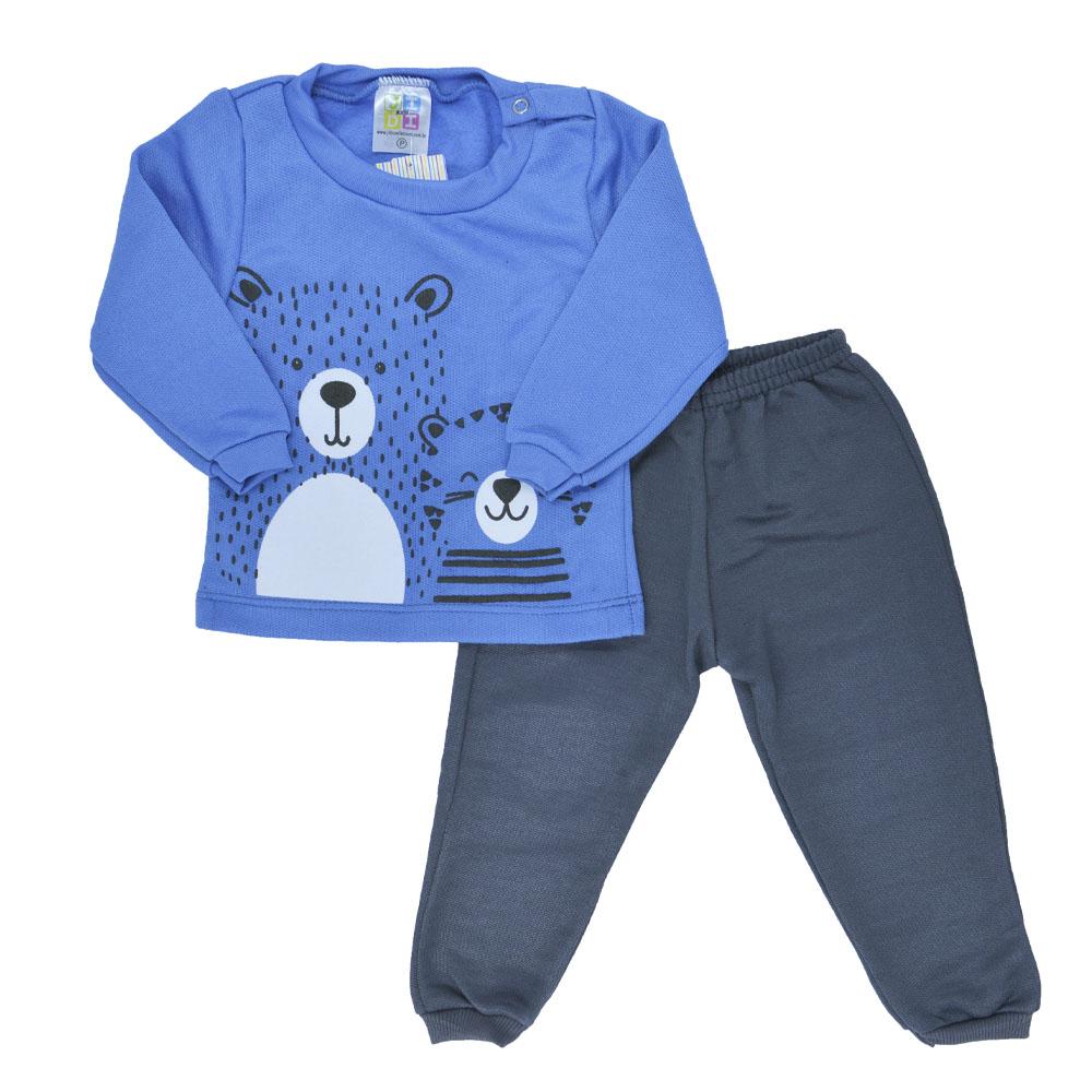 Conjunto de Moletom Bebê Urso Azul (P/M/G)