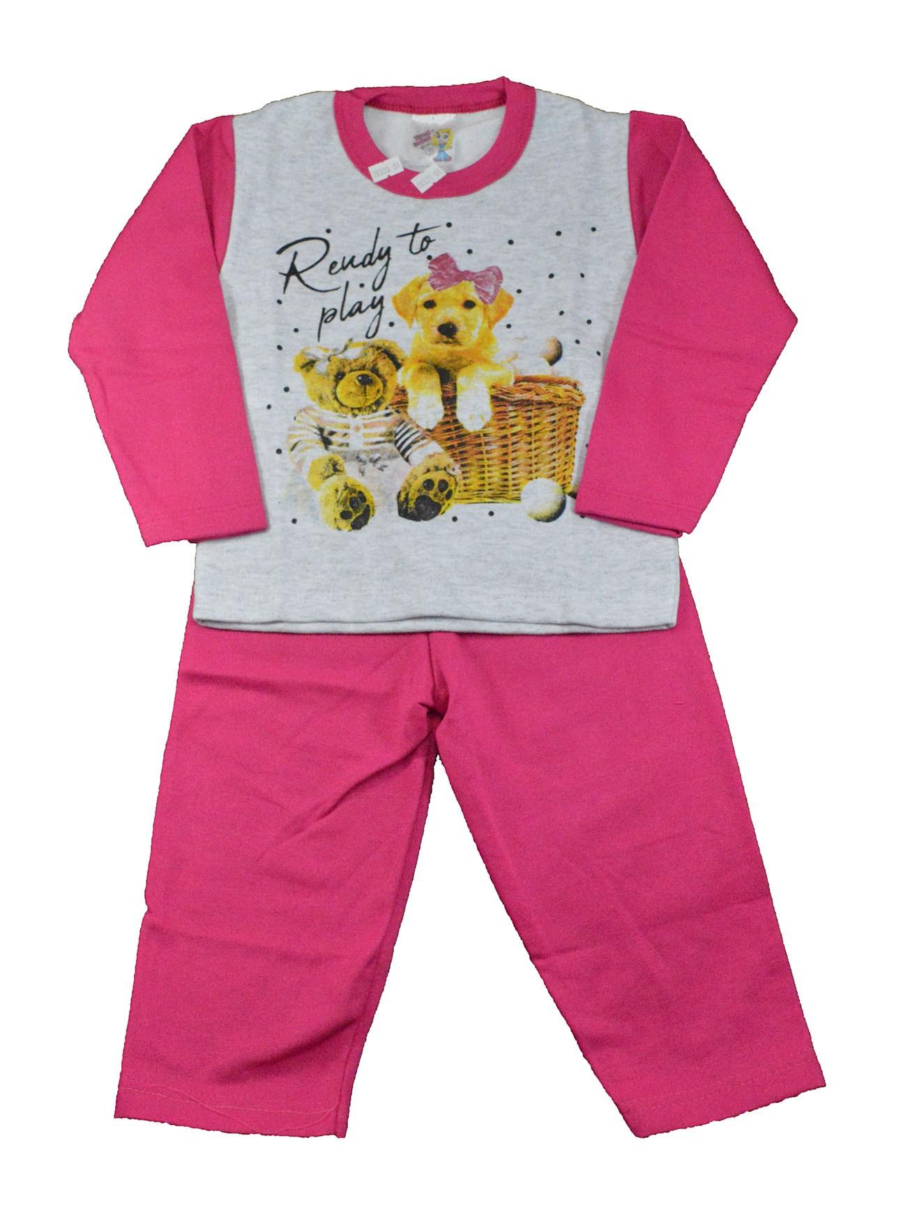 Conjunto Infantil de Moletom Cachorrinha Play Rosa 1 a 3
