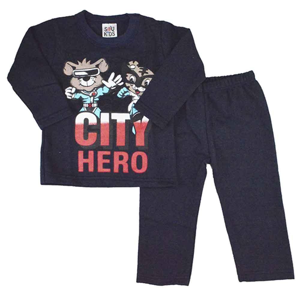 Conjunto Infantil de Moletom City Hero Azul Marinho (1/2/3)