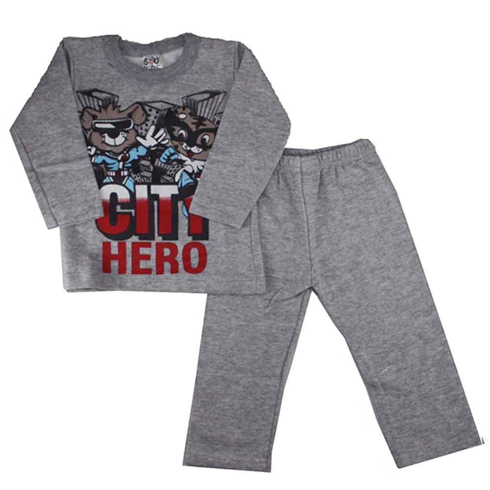 Conjunto Infantil de Moletom City Hero Cinza (1/2/3)