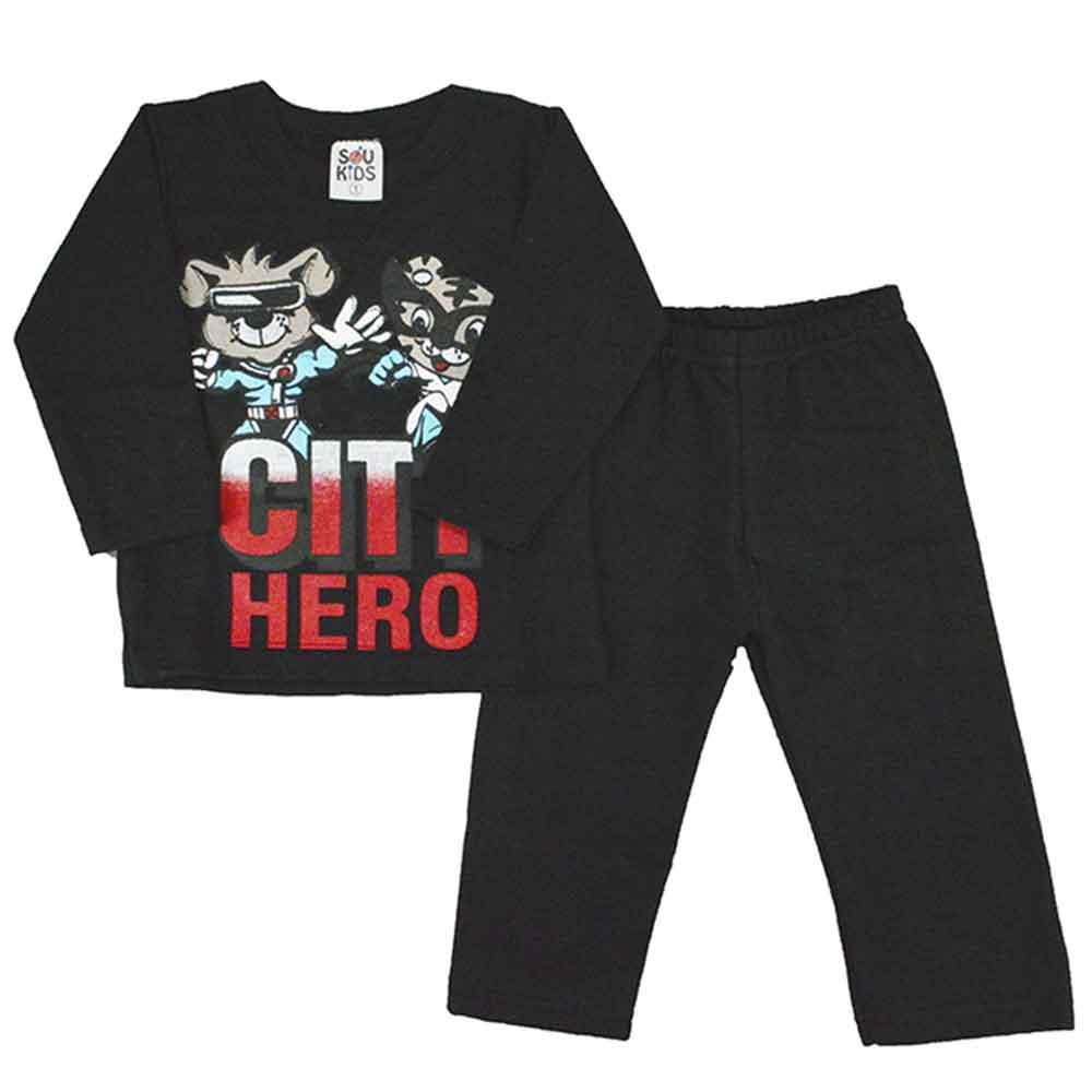 Conjunto Infantil de Moletom City Hero Preto 1 a 3
