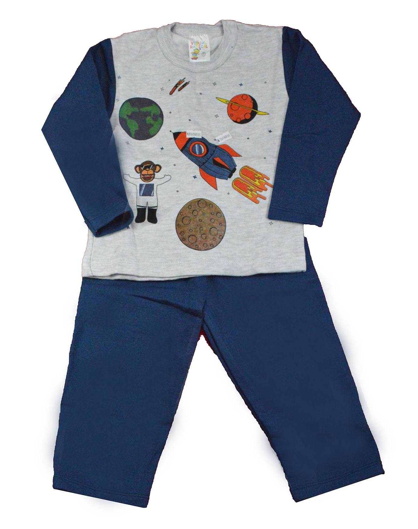 Conjunto Infantil de Moletom Galáxia Azul 1 a 3