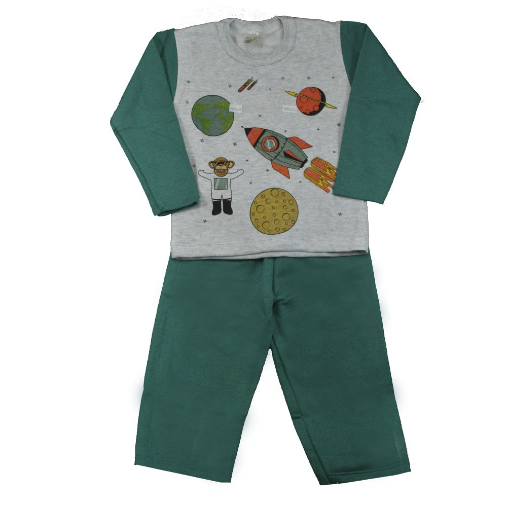 Conjunto Infantil de Moletom Galáxia Verde 1 a 3