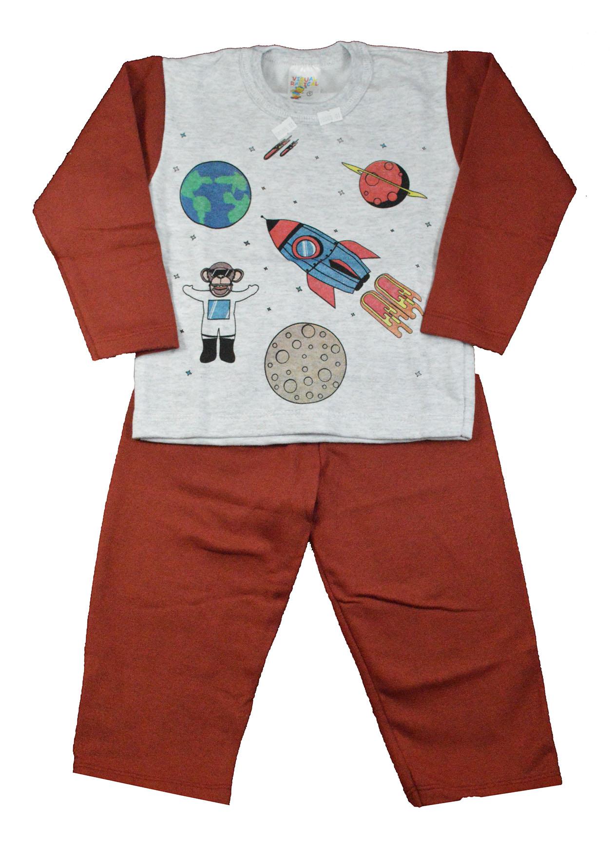 Conjunto Infantil de Moletom Galáxia Vermelho 1 a 3