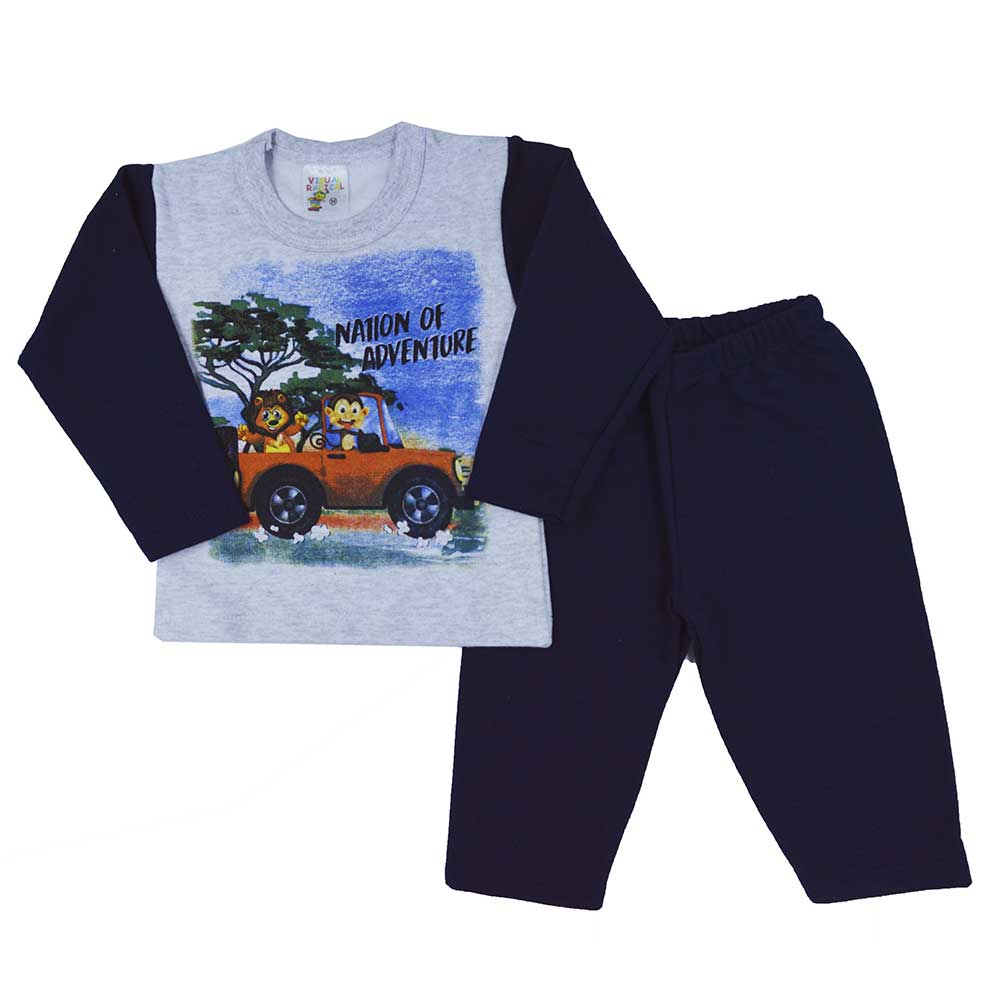 Conjunto Infantil de Moletom Nation Of Adventure Azul Marinho (P/M/G)