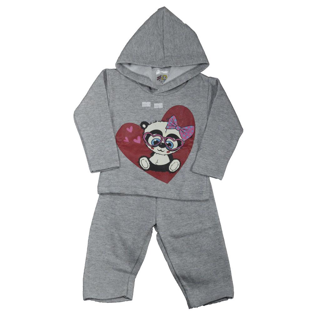 Conjunto Infantil de Moletom Panda Cinza (P/M/G)