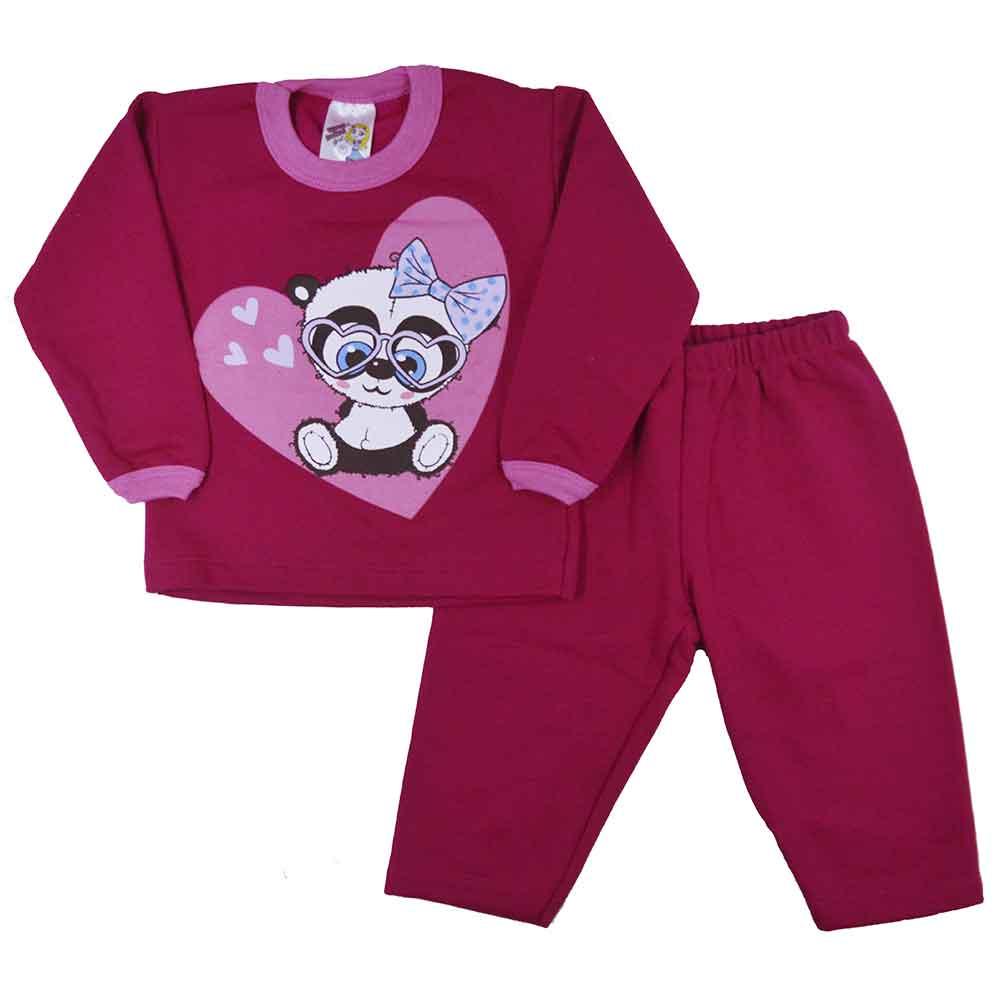 Conjunto Infantil de Moletom Panda Rosa Pink P ao G
