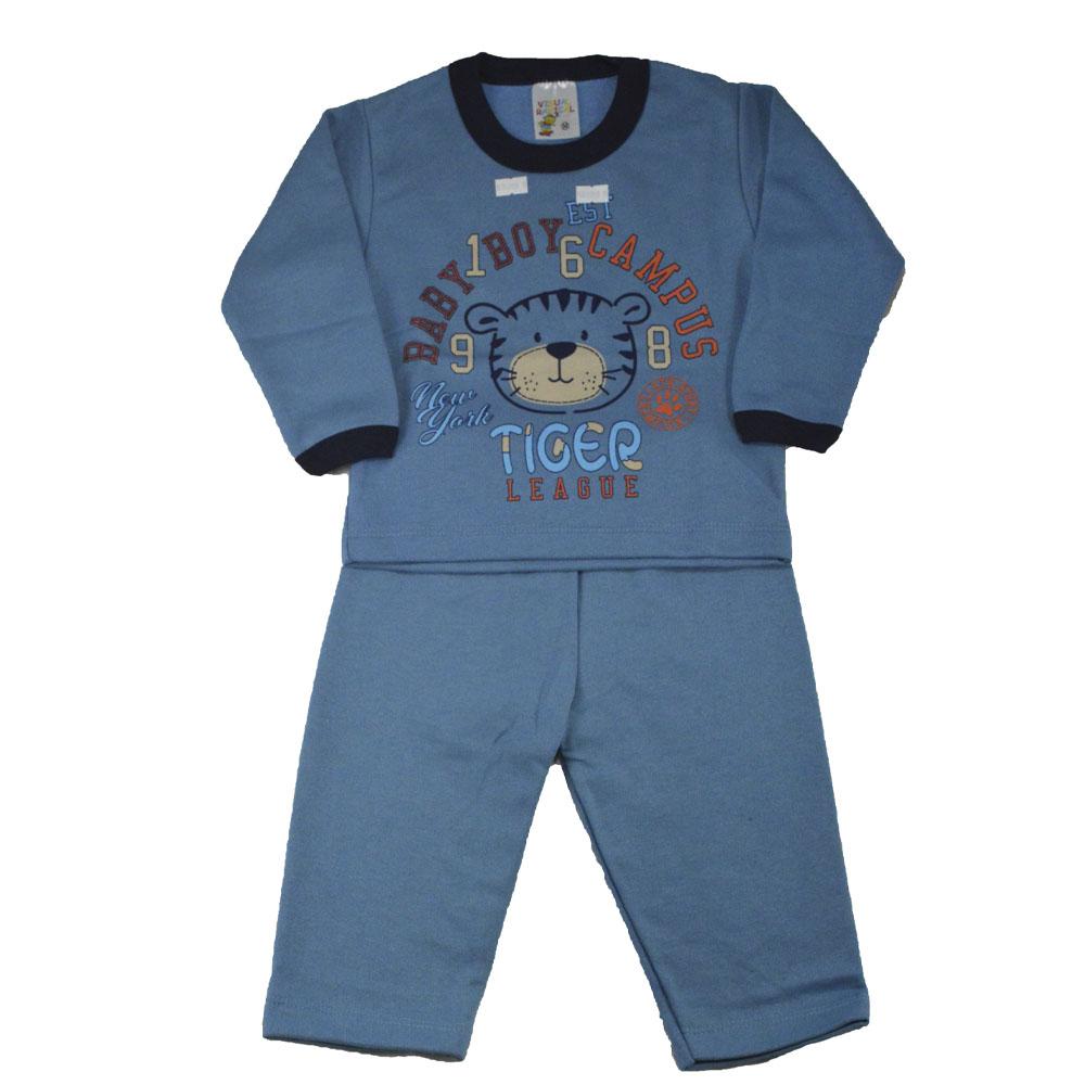 Conjunto Infantil de Moletom Tigre Boy Azul  (P/M/G)