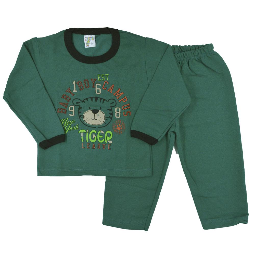 Conjunto Infantil de Moletom Tigre Boy Verde (P/M/G)