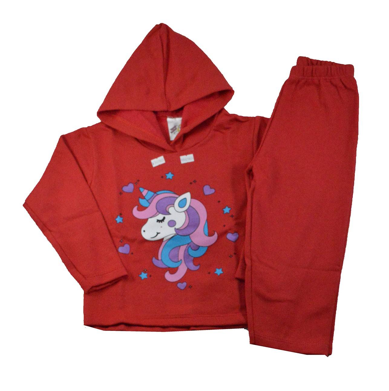 Conjunto Infantil de Moletom Unicórnio Vermelho 1 a 3