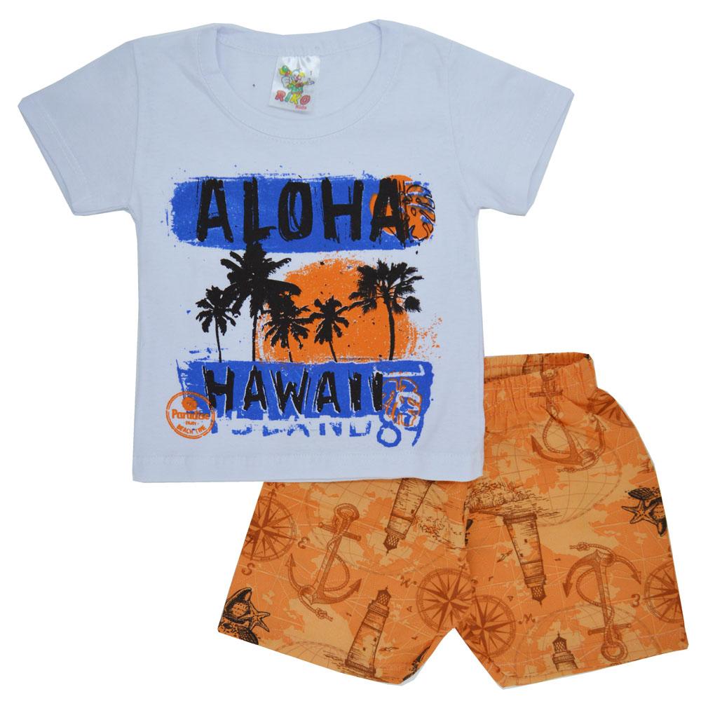 Conjunto Infantil de Verão Aloha Branco (1/2/3)