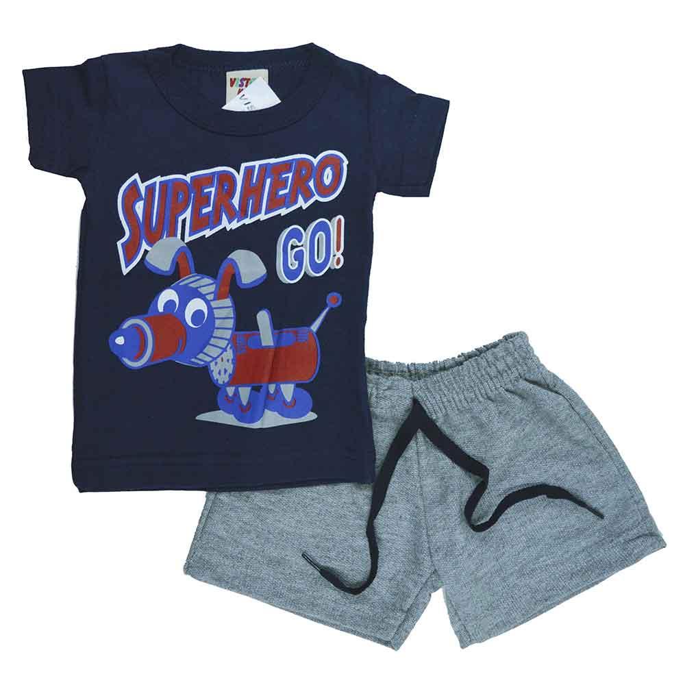 Conjunto Infantil de Verão Azul Marinho Super Hero