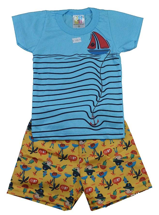Conjunto Infantil de Verão Barco Pirata Azul Jidi
