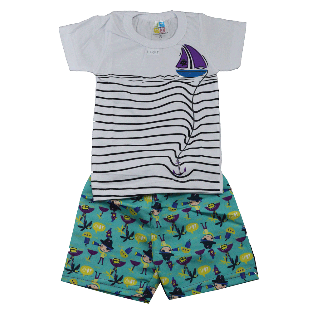 Conjunto Infantil de Verão Barco Pirata Branco Jidi