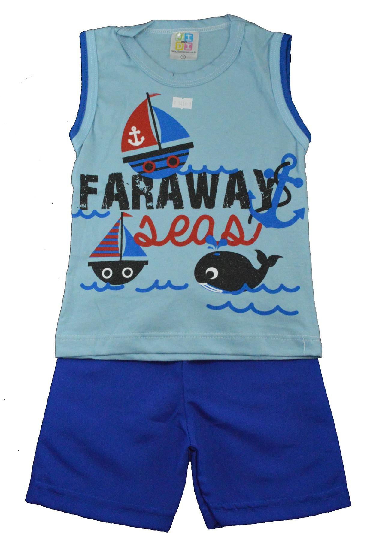 Conjunto Infantil de Verão Barco Faraway Azul Jidi