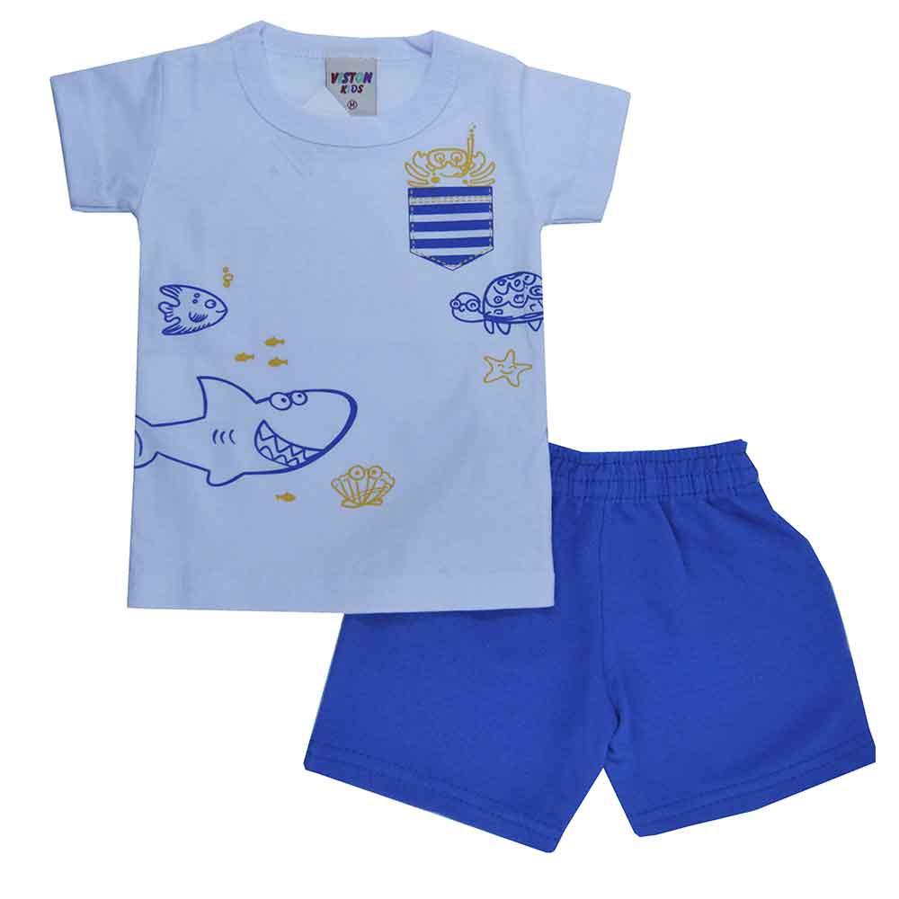 Conjunto Infantil de Verão Branco Fundo do Mar