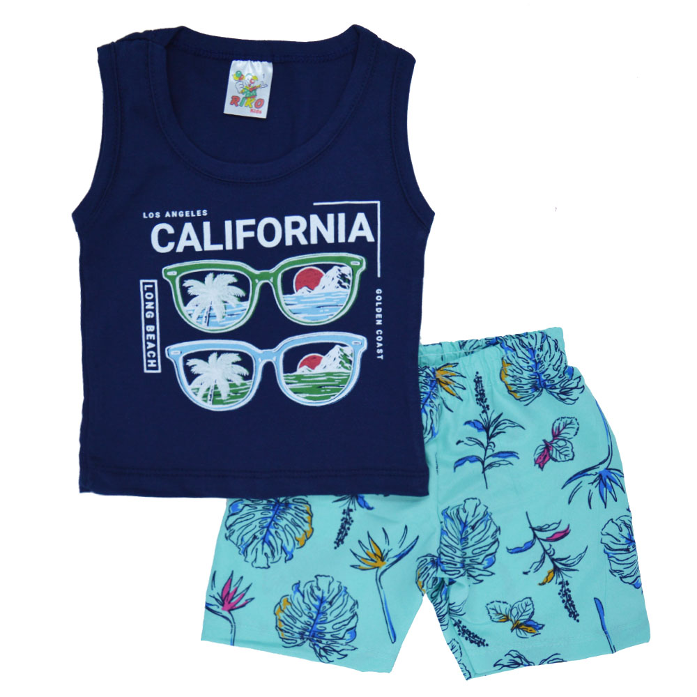 Conjunto Infantil de Verão Califórnia Azul Marinho (1/2/3)
