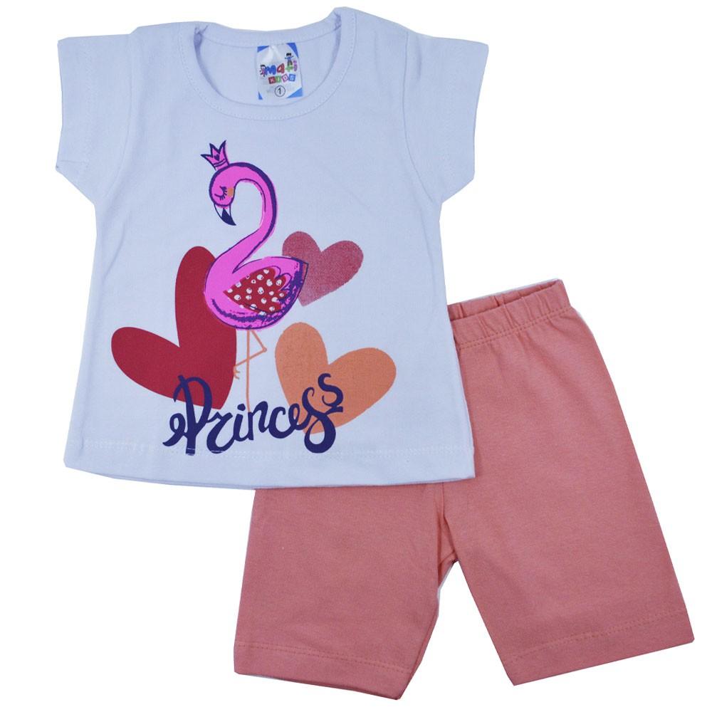 Conjunto Infantil de Verão Flamingo Princess MK