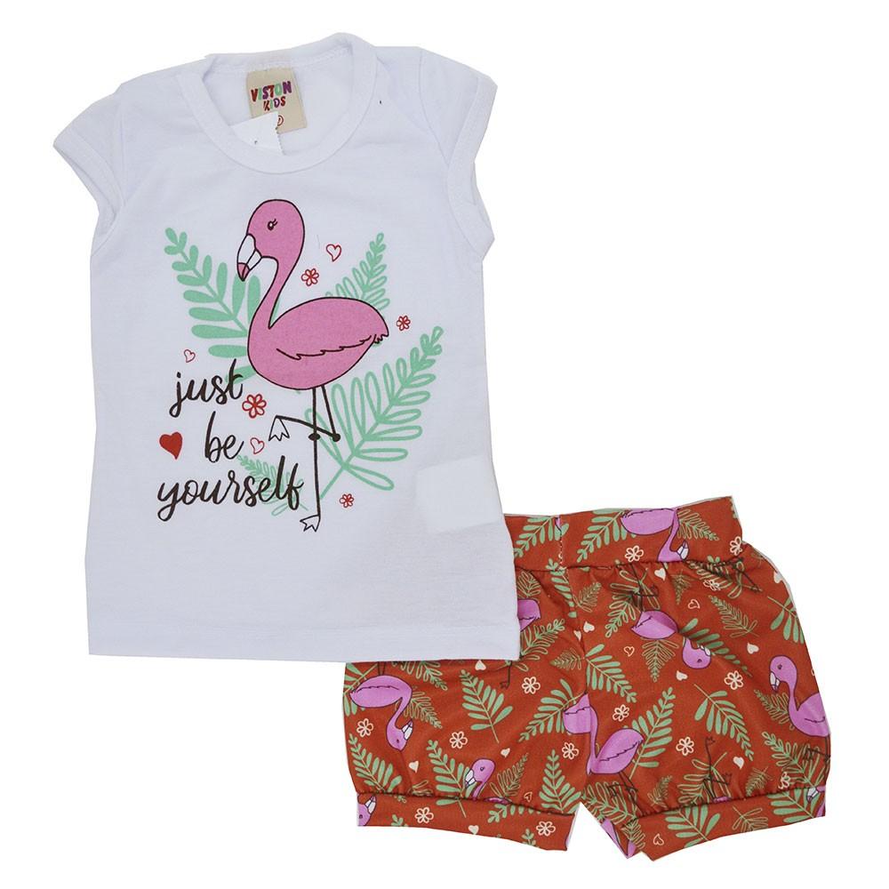 Conjunto Infantil de Verão Flamingo Yourself Branco (P/M/G)