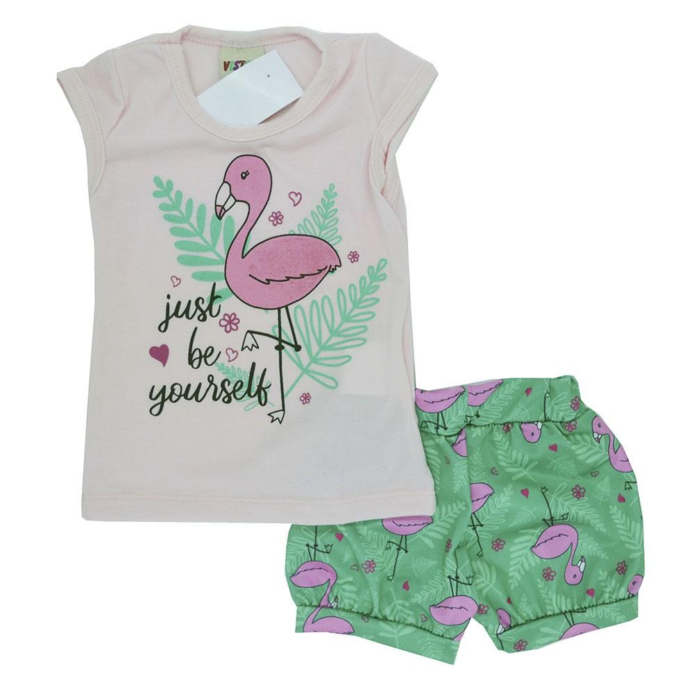 Conjunto Infantil de Verão Flamingo Yourself Rosa (P/M/G)