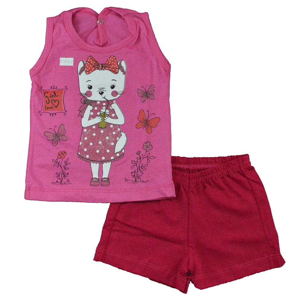 Conjunto Infantil de Verão Gatinha Rosa Jidi