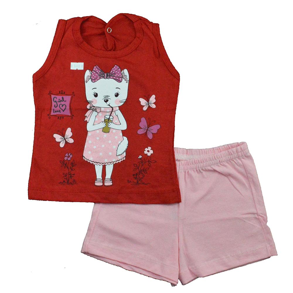 Conjunto Infantil de Verão Gatinha Vermelho Jidi