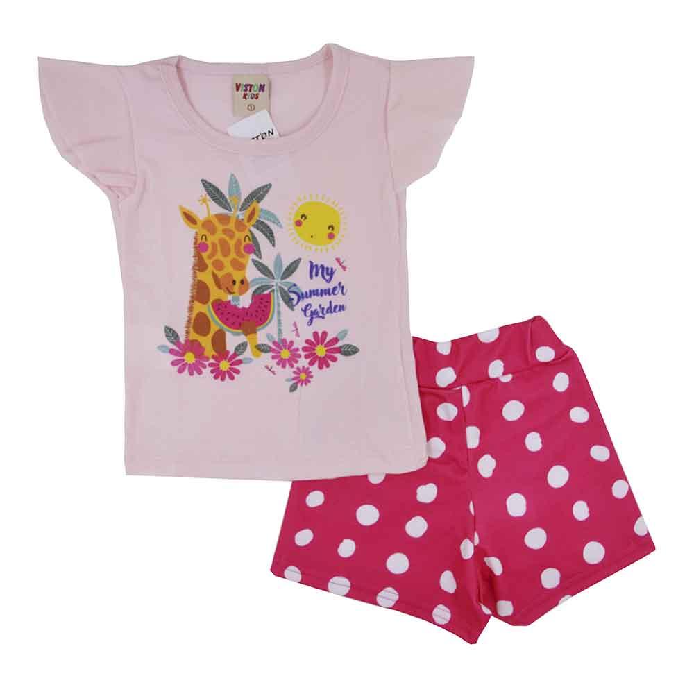Conjunto Infantil de Verão Girafa Rosa (1/2/3)