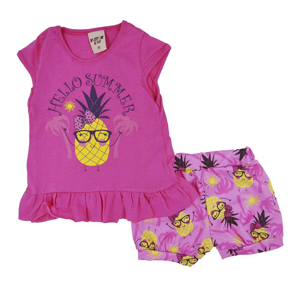 Conjunto Infantil de Verão Hello Summer Rosa Pink (P/M/G)