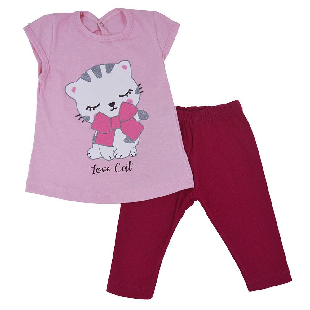 Conjunto Infantil de Verão Gatinha Laço Rosa (P/M/G)