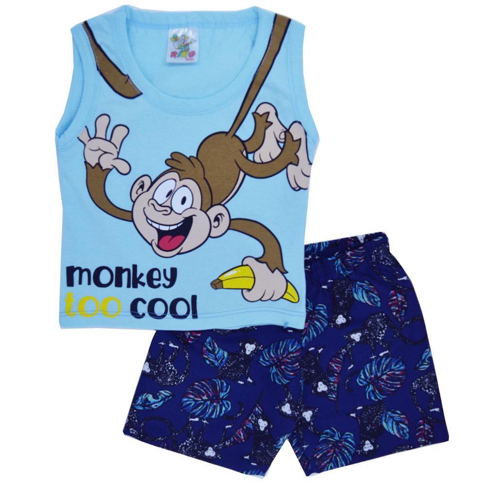 Conjunto Infantil de Verão Macaco Azul (1/2/3)