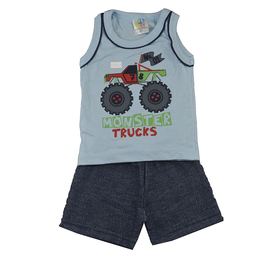 Conjunto Infantil de Verão Monster Truck Azul (P/M/G)