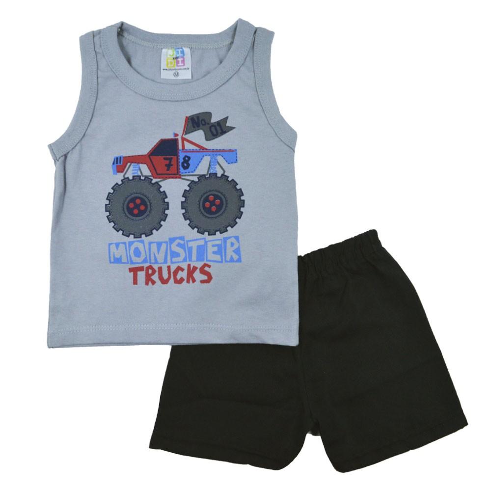 Conjunto Infantil de Verão Monster Truck Cinza Jidi