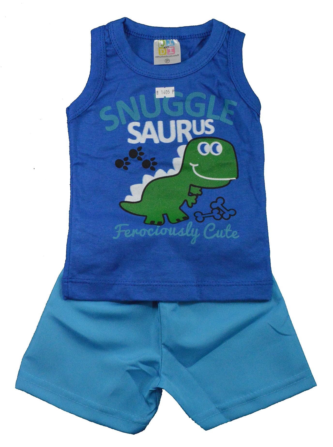 Conjunto Infantil de Verão Snuggle Saurus Azul Jidi