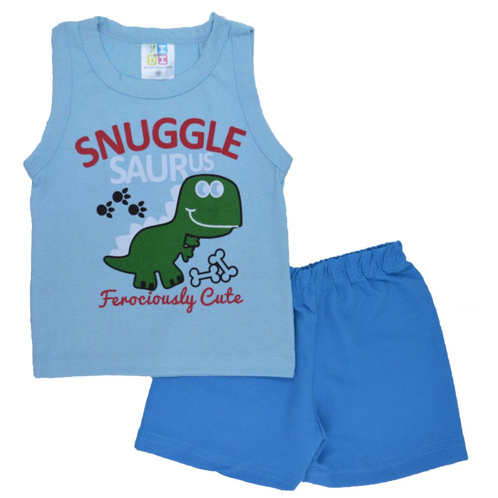 Conjunto de Bebê Verão Snuggle Saurus Azul (P/M/G)