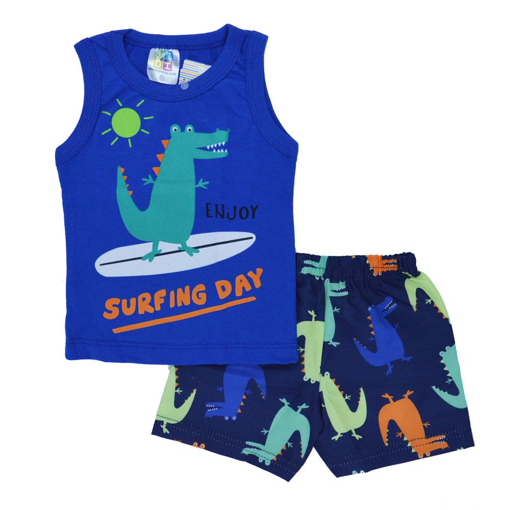 Conjunto de Bebê Verão Surfing Day Azul Bic (P/M/G)