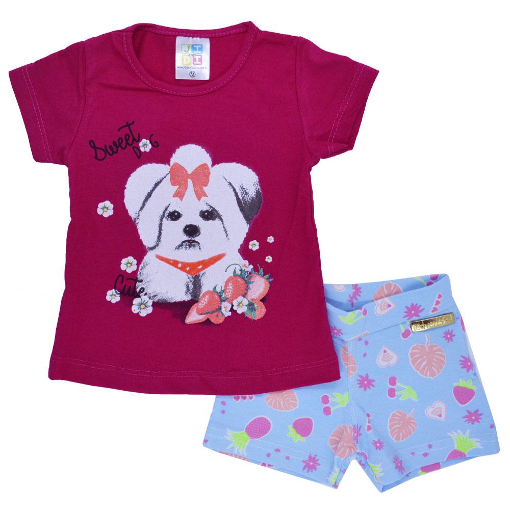 Conjunto Infantil de Verão Sweet Dog Pink (P/M/G)