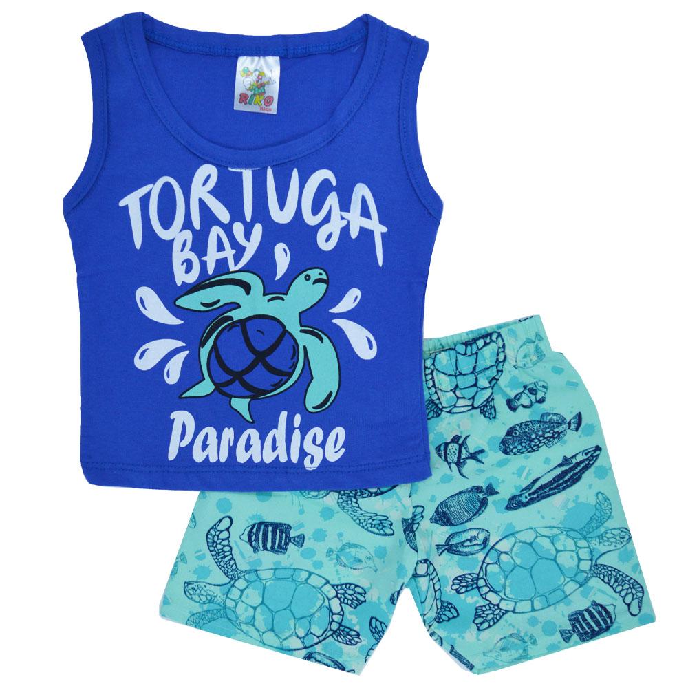 Conjunto Infantil de Verão Tortuga Azul (1/2/3)