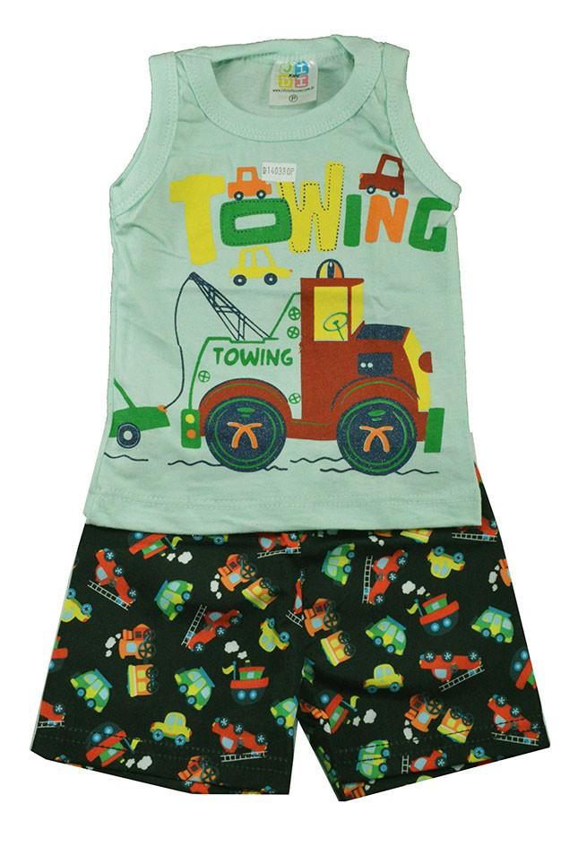 Conjunto Infantil de Verão Towing Verde Jidi
