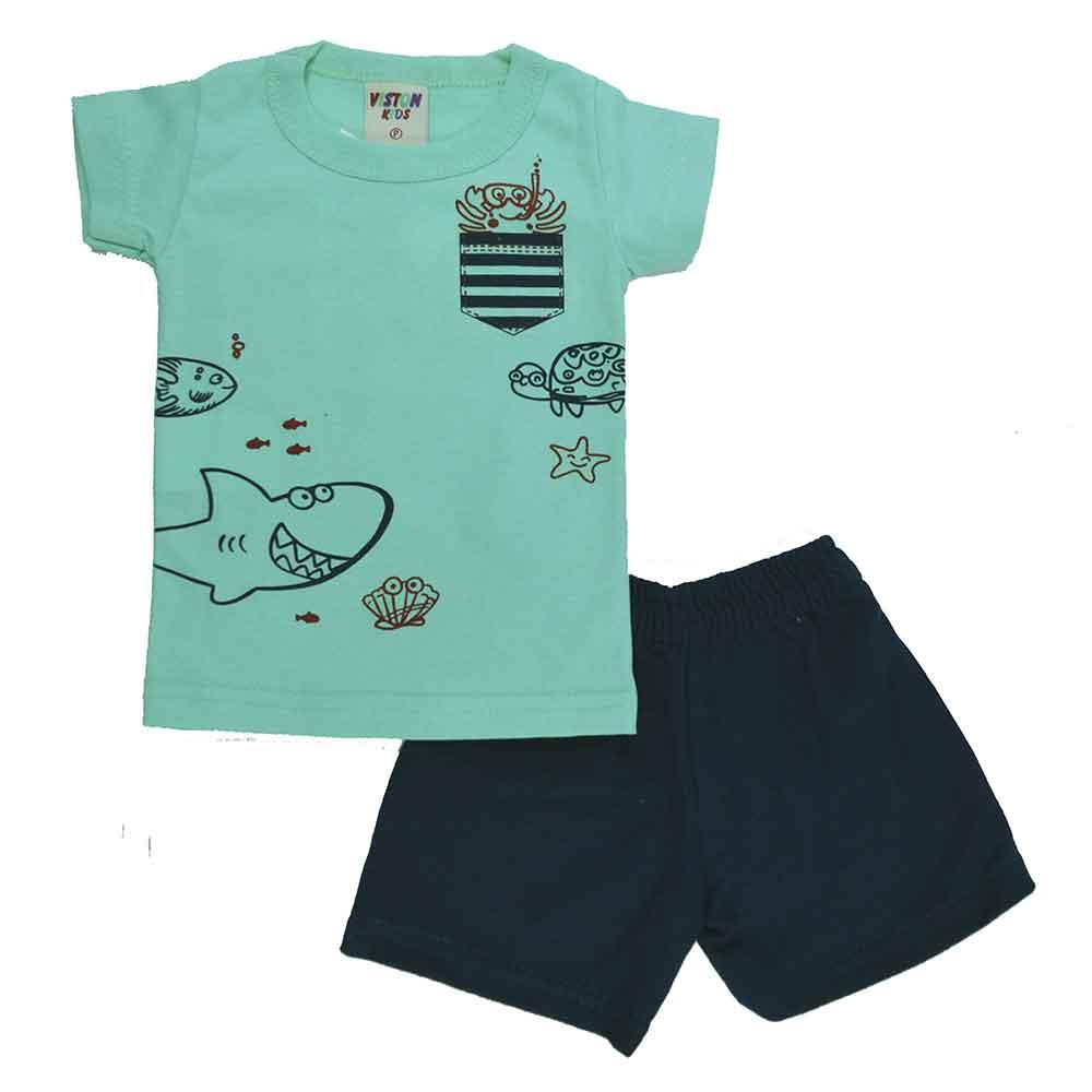 Conjunto Infantil de Verão Verde Fundo do Mar