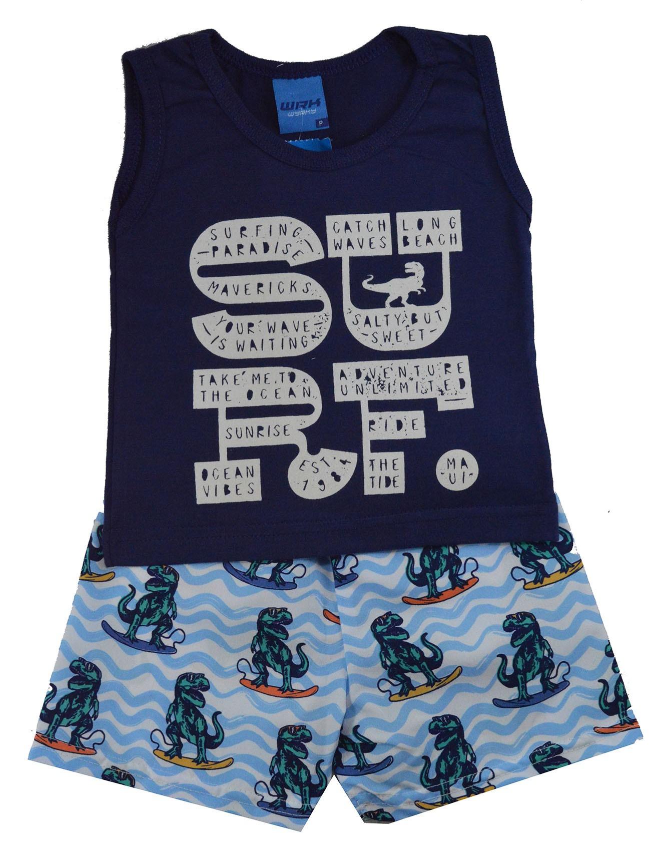 Conjunto Infantil de Verão WRK Dino Surf Azul