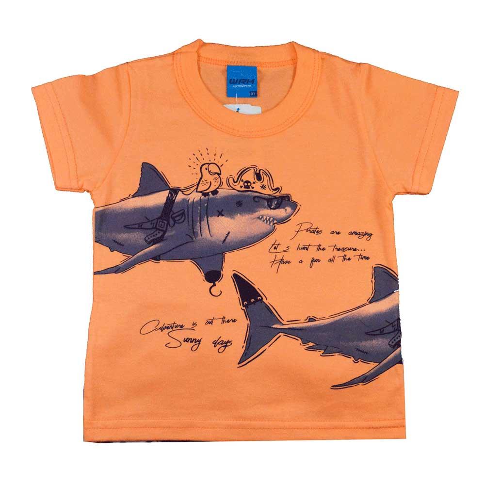 Conjunto Infantil de Verão WRK Tubarão Laranja