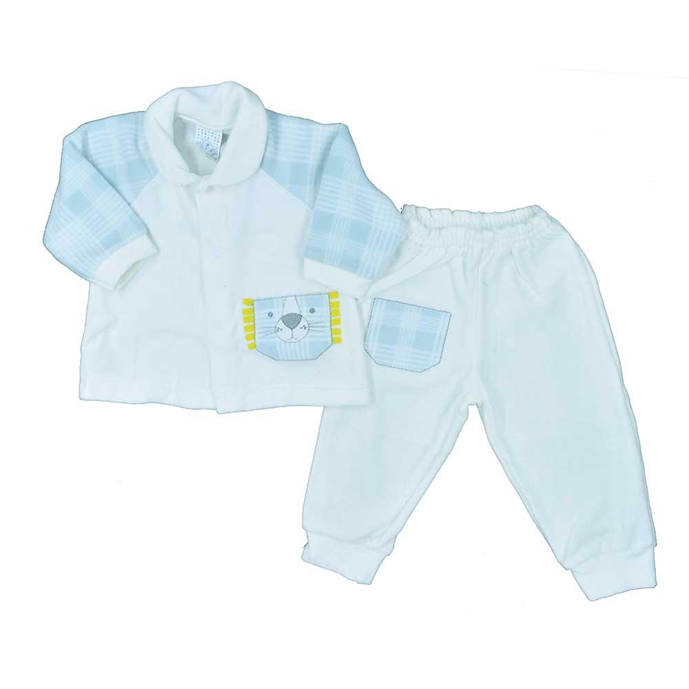 Conjunto Plush de Bebê Petutinha Branco Xadrez (P/M/G)