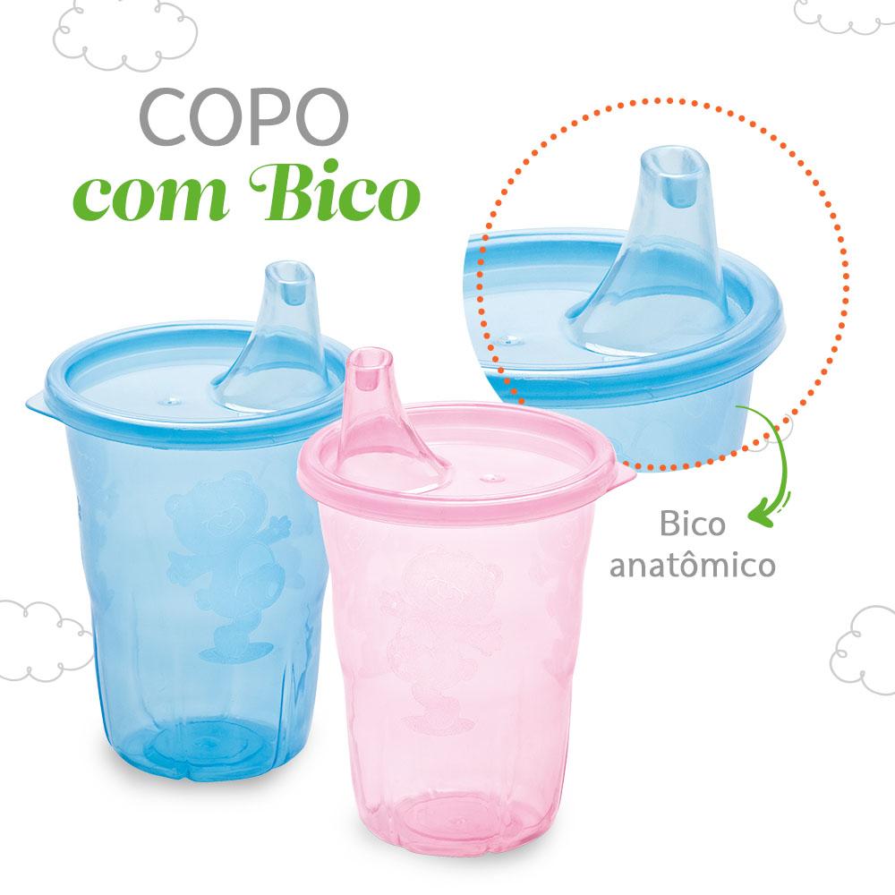 Copo Infantil 350ml Transparente com Bico Adoleta