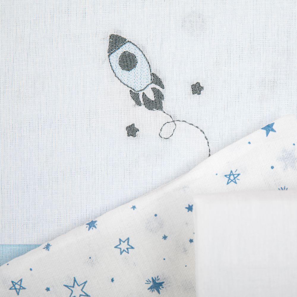 Jogo de Lençol Americano Papi Espaço Azul Com Vira Bordado